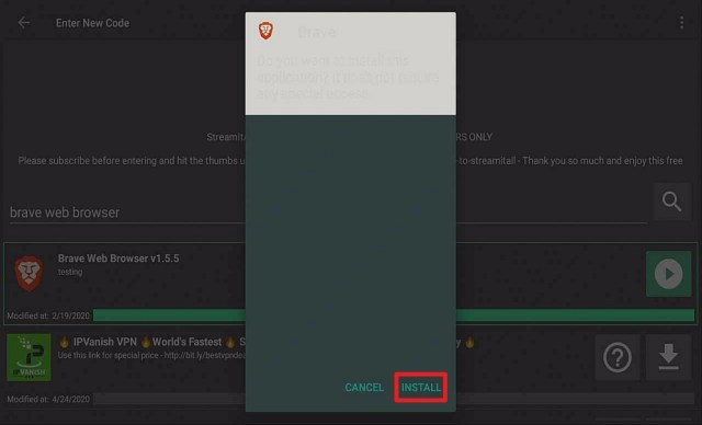 Step 20 Install Brave via Filelinked