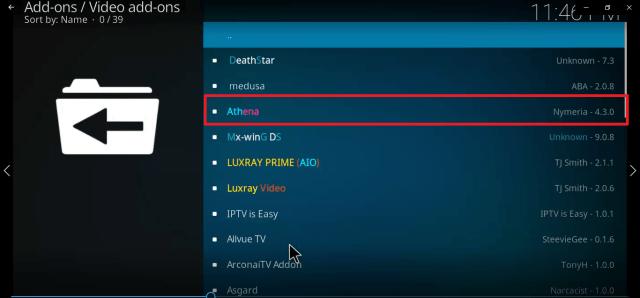 Step 23 Install Athena kodi addon
