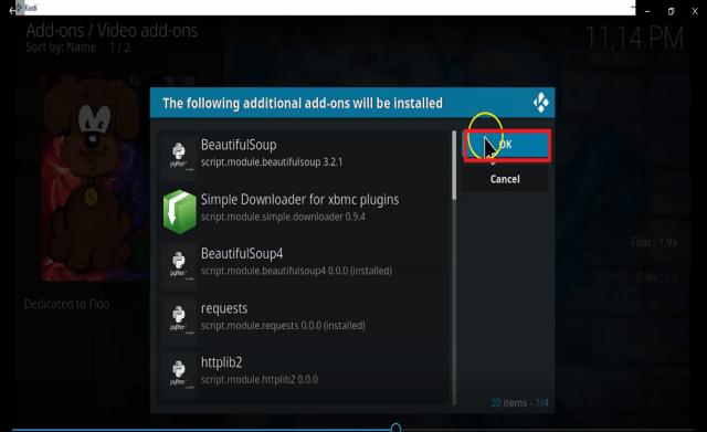 Step 25 Install fido kodi addon