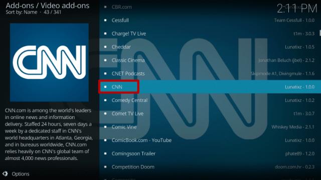 Install the CNN Kodi Addon Step 5