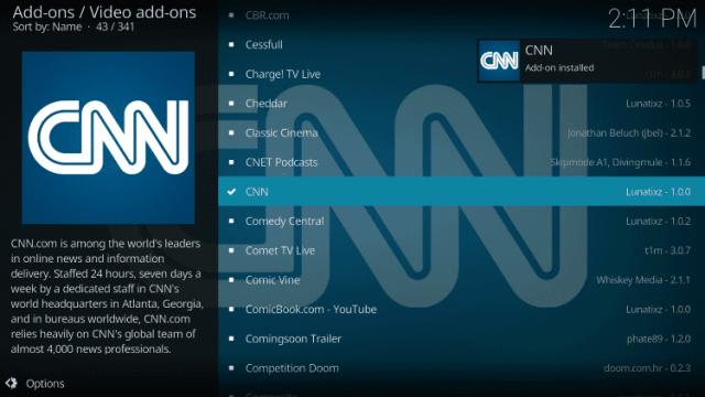 Install the CNN Kodi Addon Step 8