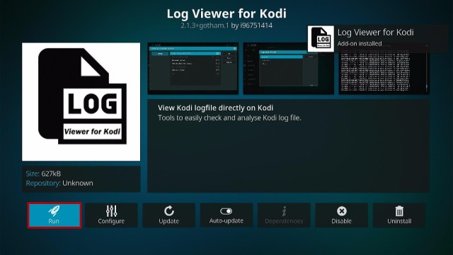 Install the Log Viewer for Kodi Step 9