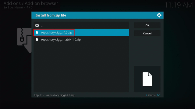 Step 14 Install Diggz Xenon Kodi Build