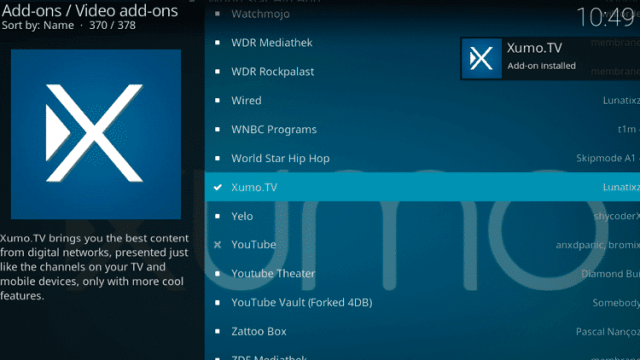 Install the XUMO TV Kodi Addon Step 8
