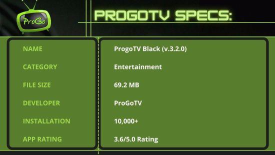 ProgoTV Specs 1