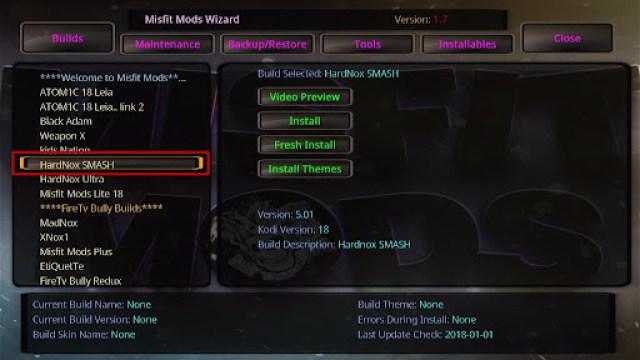 Install HardNox SMASH Kodi Build 25