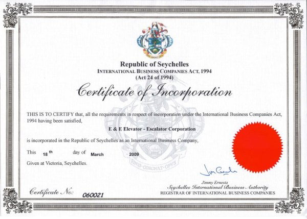 Certificate of incorporation. Image credit elevator-escalator.com