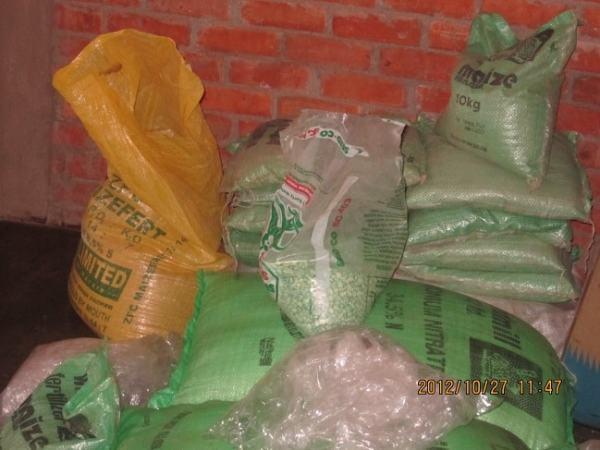 Sacks of fertilizer. Image credit forgottenvoices.org