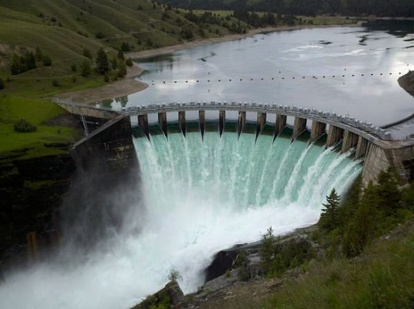 An arch shaped dam wall. Image credit MediaWiki