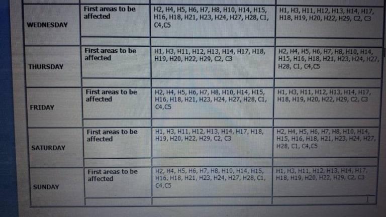Load shedding area codes