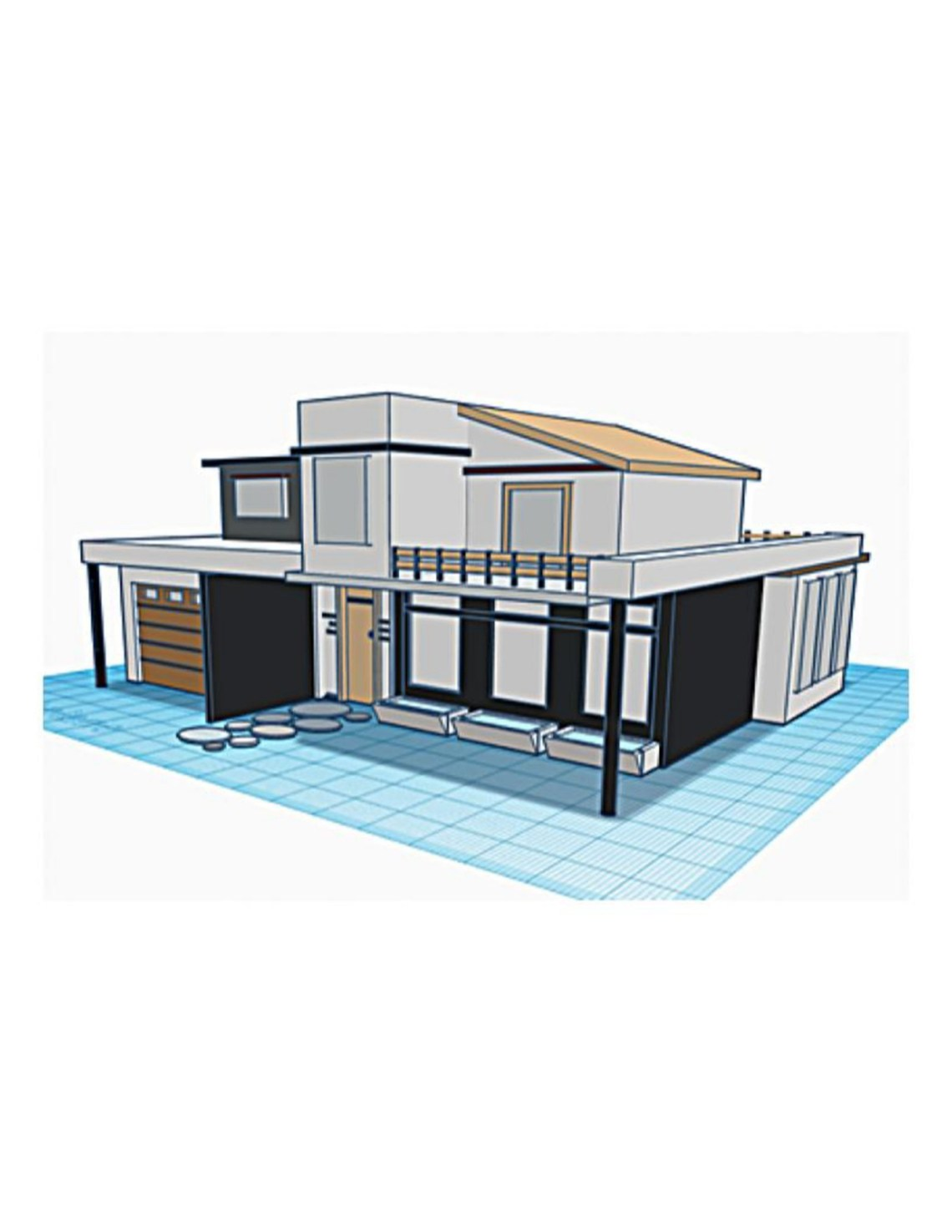 cad rendering of a house in 3d