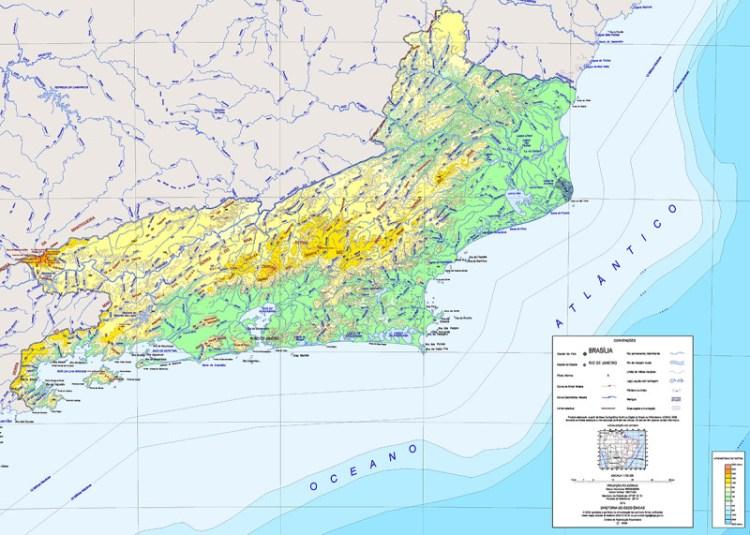 Mapa físico do Rio de Janeiro - Fonte: IBGE