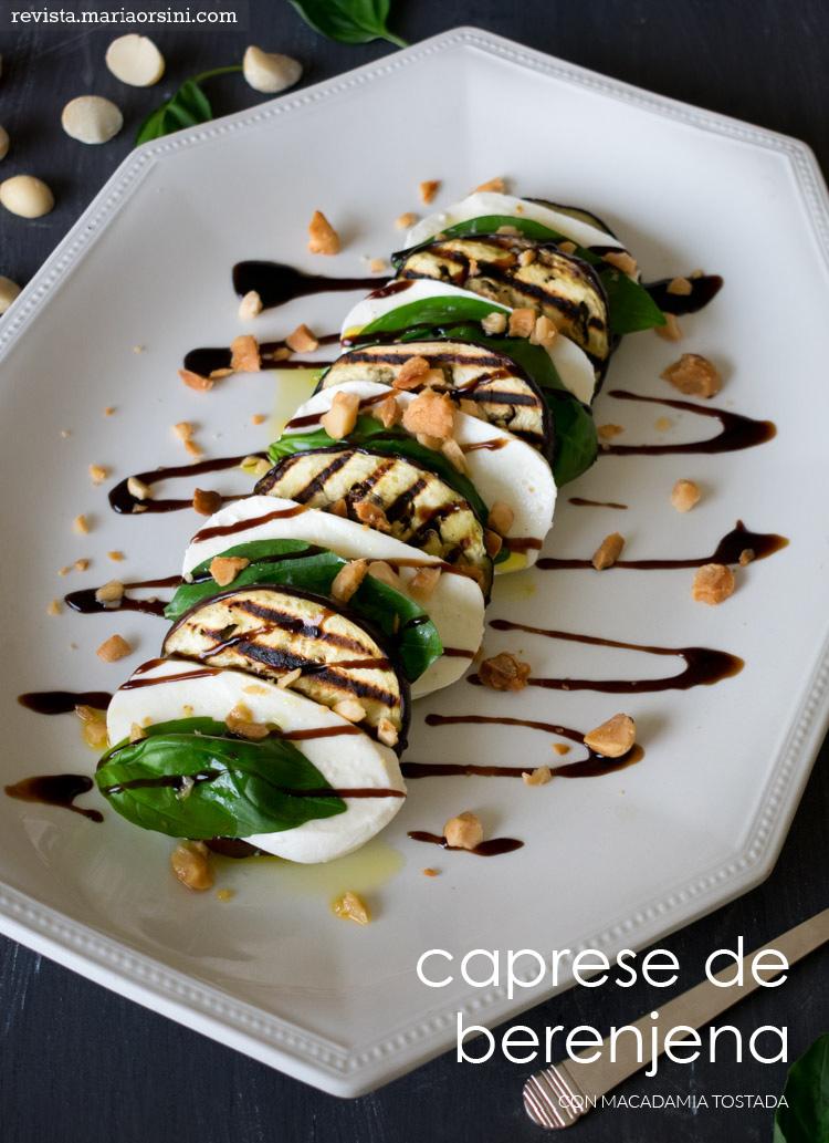 Ensalada caprese de berenjena con macadamias tostadas