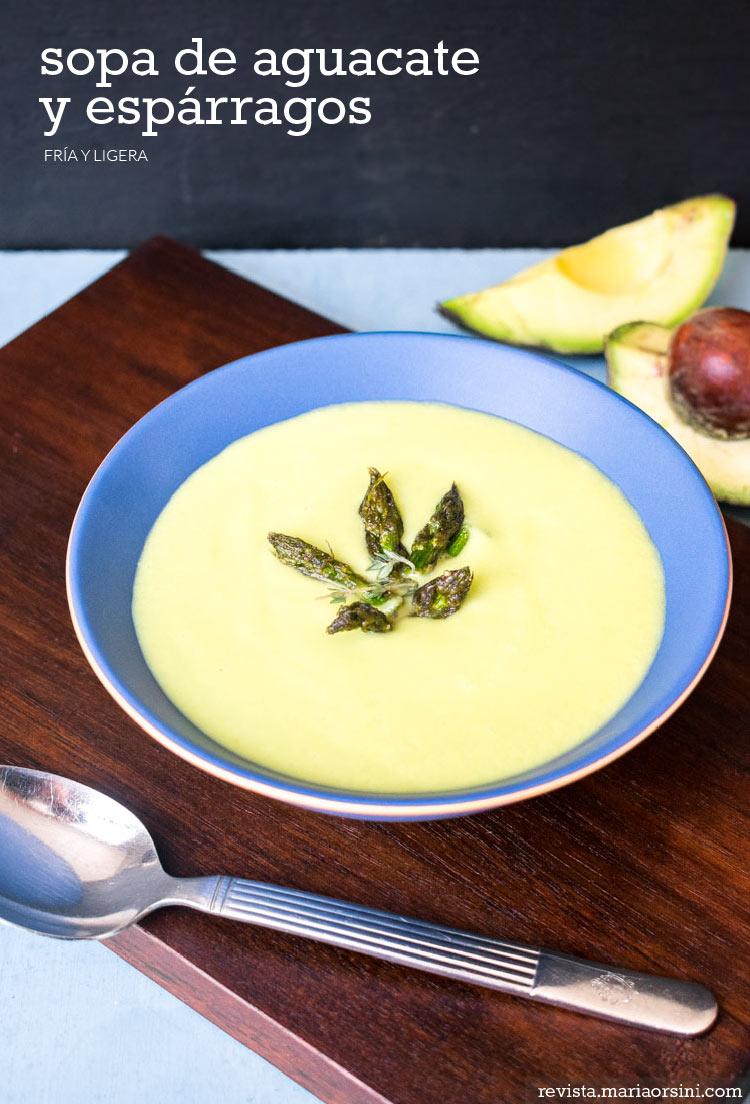 Sopa de aguacate y espárragos en revista Maria Orsini