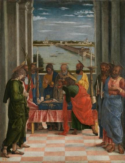 El tránsito de la Virgen. Hacia 1462. Andrea Mantegna. Técnica mixta, tabla, 54,5 x 42 cm.