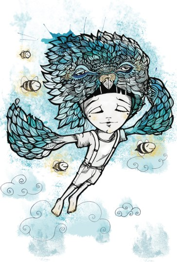 Ilustración de Elena González (ELNO) del relato El vuelo de Adrián