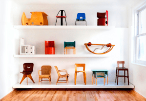 Sillas por la marca Kinder Modern de las diseñadoras Lora Appleton y Bachman Clem. Marca dedicada al diseño vintage para niños, invitada al Colective Design 2015.