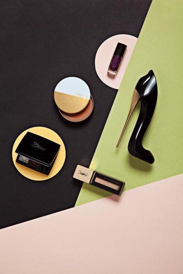 Esmalte - Lancôme Bronzer - Guerlain Cuarteto de sombras - Dior Perfume Good Girl - Carolina Herrera Base líquida – YSL