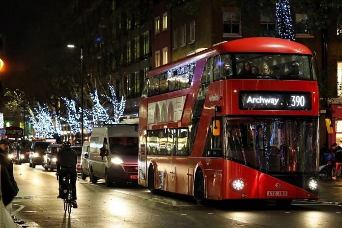Londres, Autocarro, Noite, Natal, Bicicleta, Ônibus