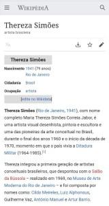 Verbete sobre a artista brasileira Thereza Simões, criado pela parceria entre a NaPupila e a Caju