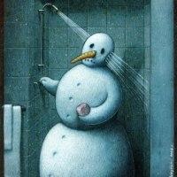 La ducha mortal del hombre de nieve