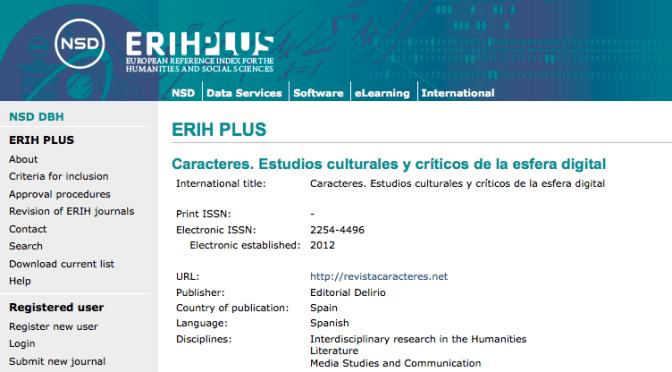 Caracteres ha sido aceptada en ERIH Plus