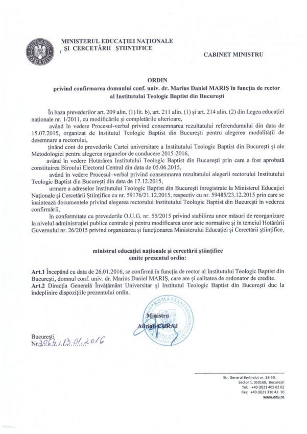 MENCS - Ordin Ministru Confirmare Rector Marius Daniel Maris(1)