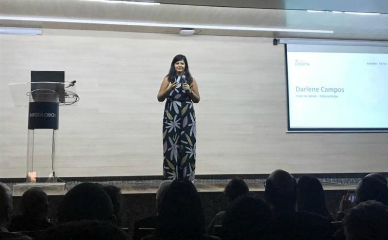 Darlene Campos durante a apresentação da plataforma Qual Oferta