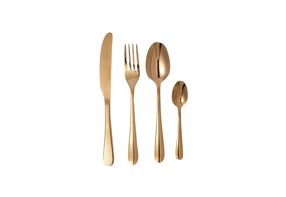 LE LIS BLANC CASA: Ideal para compor uma mesa sofisticada, o conjunto de talheres de 24 peças tem design em curvas e superfície lisa em aço inoxidável e banho dourado