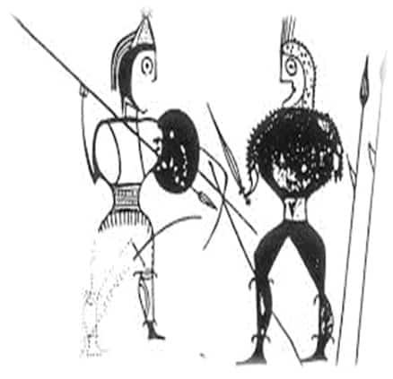 Guerreros combatiendo, duelo celtíbero que muestra la importancia de la guerra para este pueblo.