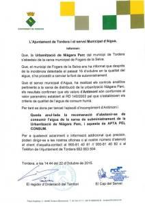 El comunicado del Ayuntamiento de Tordera