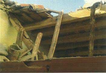 Aspecto del techo derrumbado. Foto: Ajt. d'Arenys de Mar