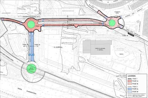 Mapa de los nuevos viales y rotondas del sector del Sorall. Mapa: Ajt de Mataró