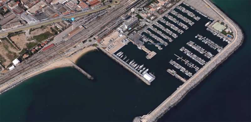 El puerto de Mataró aloja el Marina Mataró Barcelona. Imagen: Google Maps
