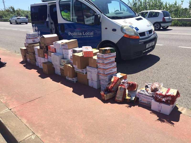 Los alimentos decomisados en el control. Foto: Policia Local de Pineda
