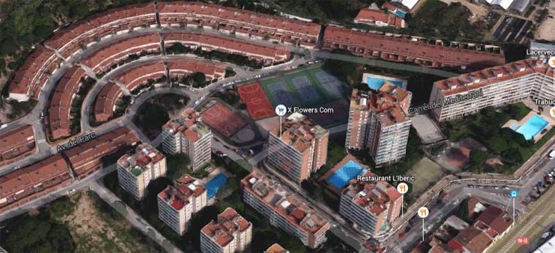 Vista aérea del complejo donde se ha producido el accidente. Fuente: Google Maps