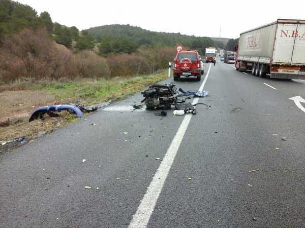 Aspecto del accidente de La Rioja. Foto: Bomberos de Logroño