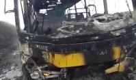 Ônibus escolar pega fogo no interior da Bahia