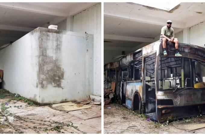 Grafite com imagem de ônibus viraliza na internet