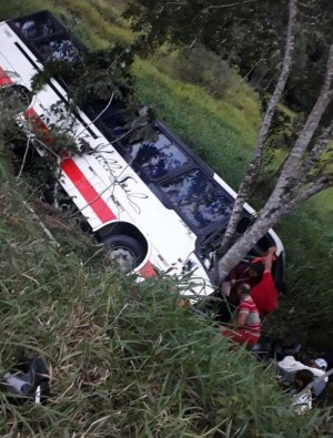 SP: Ônibus cai em ribanceira deixando 15 feridos no Vale do Ribeira