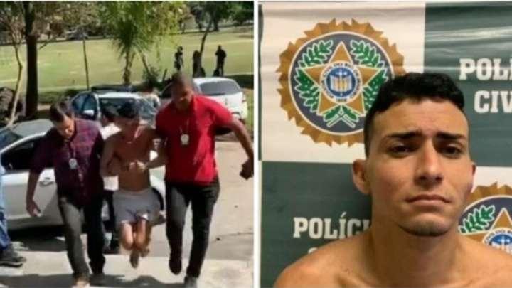 Algemado nas mãos e nos pés, ladrão de ônibus é apresentado em delegacia do Rio