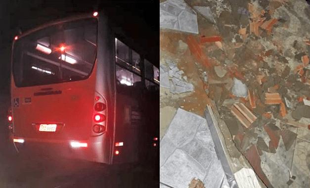 Ônibus perde controle e invade calçada em Vitória da Conquista