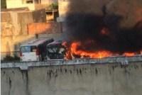 Rio: Incêndio atinge garagem da Transporte Barra em Campo Grande neste domingo