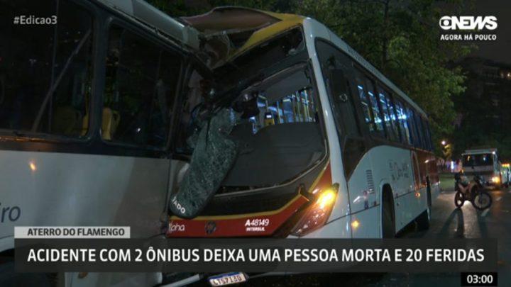 Rio: Acidente com dois ônibus deixa um morto e 20 feridos no Aterro do Flamengo