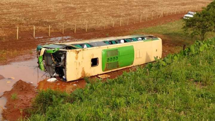 RS: Acidente com ônibus de torcedores do Grêmio deixa um morto e 46 feridos na BR-386