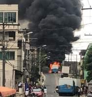 ES: Vídeo mostra ônibus do Transcol pegando fogo em Cariacica