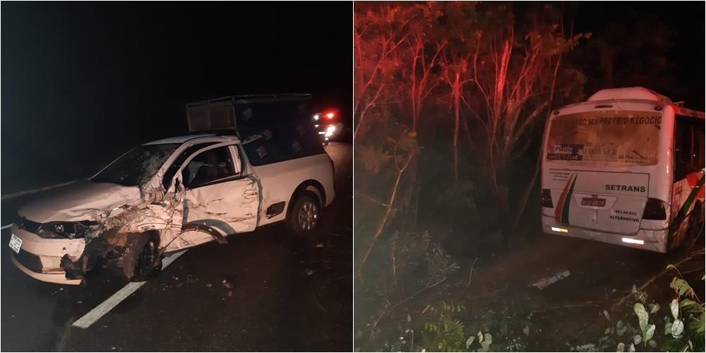 Acidente entre carro e micro-ônibus deixa quatro feridos na BR-343