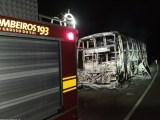 MS: Ônibus pega fogo e acaba destruído nesta madrugada de quarta-feira na BR-262