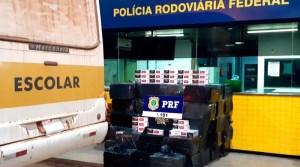 Rondônia: Operação da PRF e Polícia Civil  flagram 34.500 maços de cigarro sendo transportados em ônibus escolar