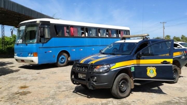 Campo Maior: PRF apreende ônibus pirata que vinha do estado de São Paulo na BR-343